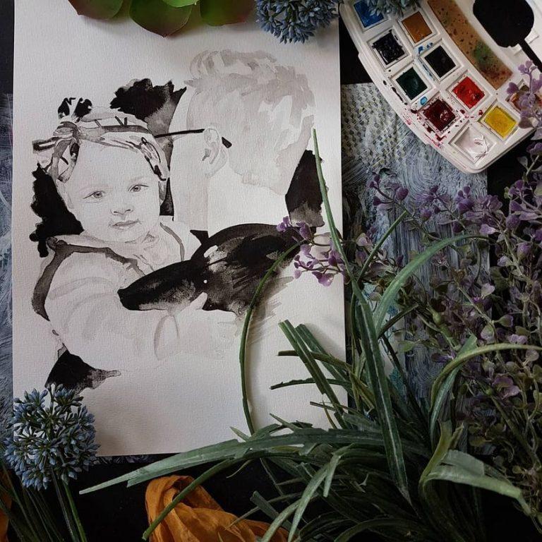 vader kind inkt portret