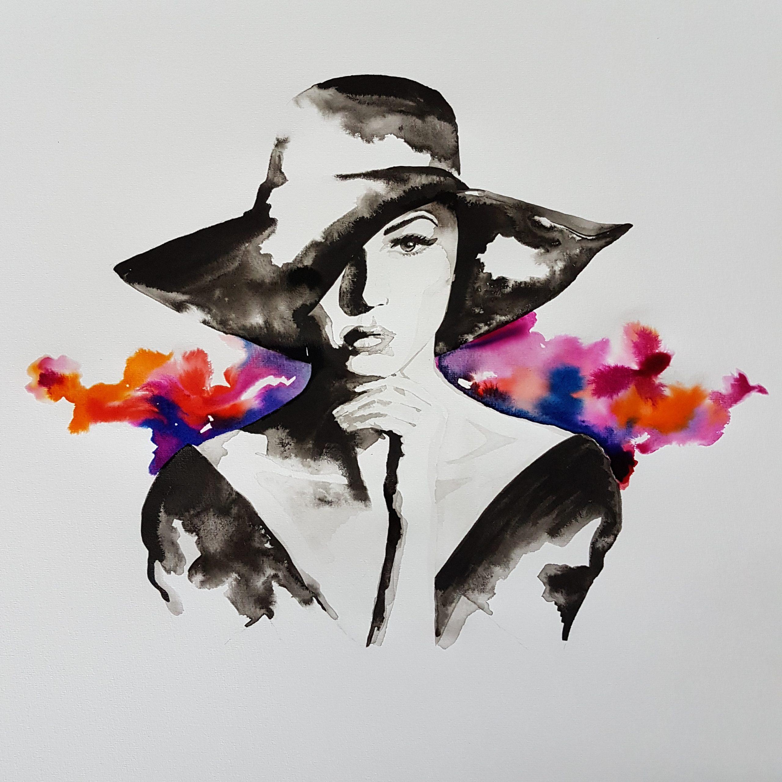 Inkt portret fashion illustration MadameRuiz