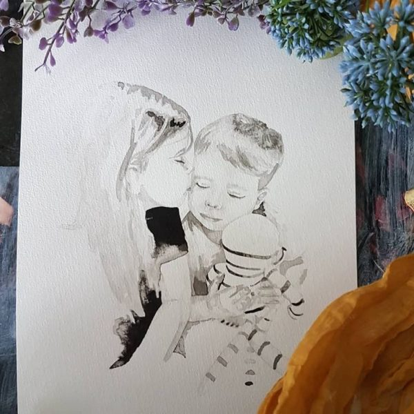 inkt portret van broertje en zusje knuffelend tijdens een voorleesmomentje