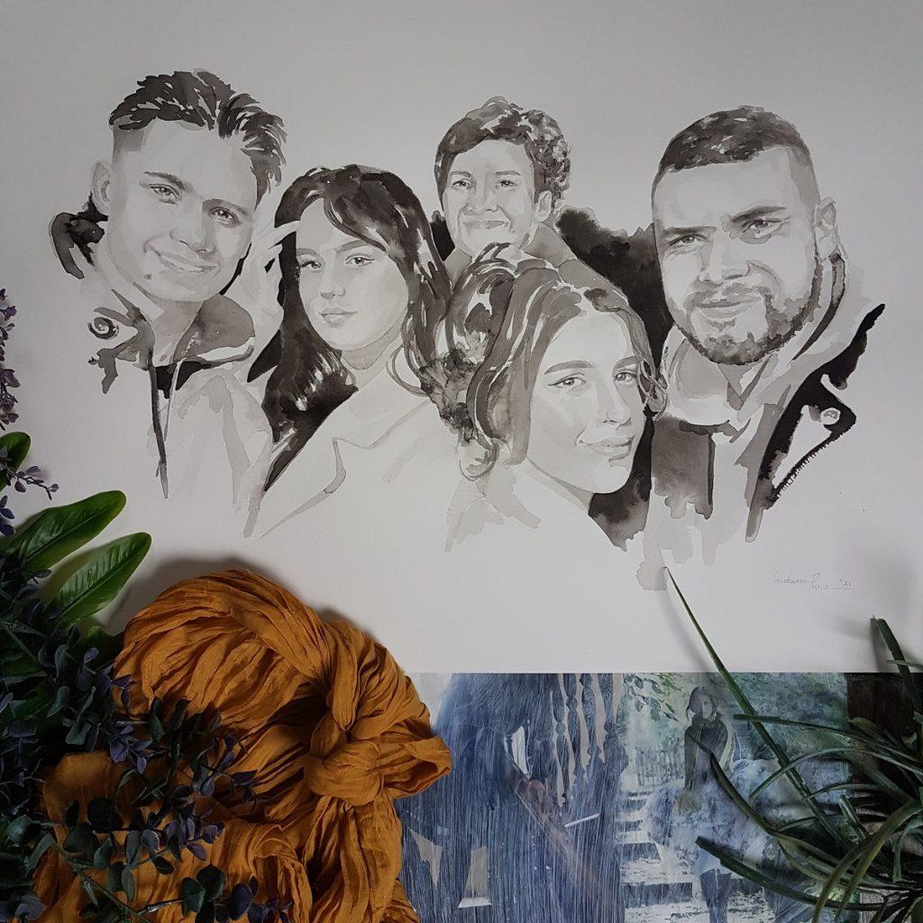Familieportret van een moeder met 4 kinderen