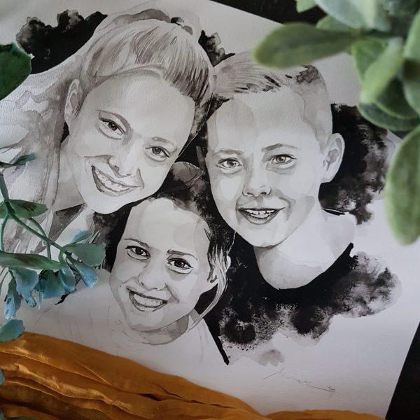 inkt portret in opdracht MadameRuiz familie gezin portret VTwonen kunstenaar