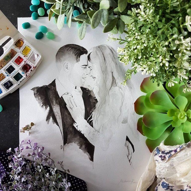 inkt portret in opdracht MadameRuiz huwelijk huwelijksportret VTwonen kunstenaar