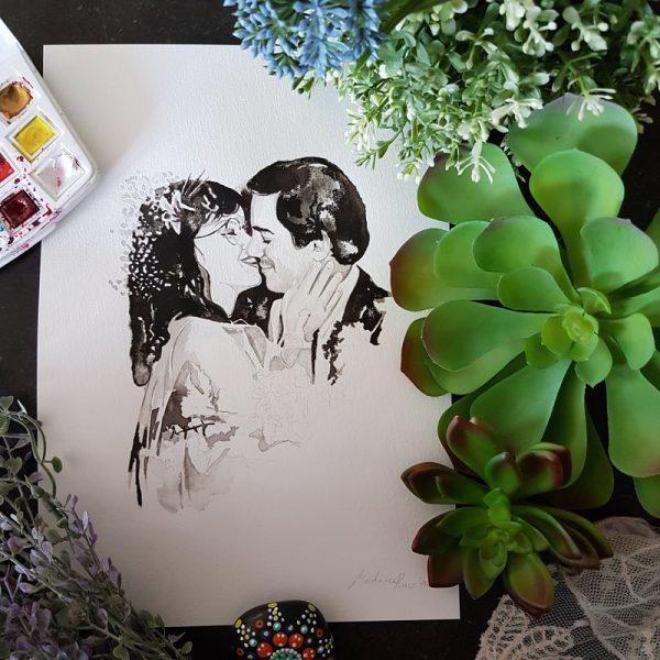 huwelijksportret van oude trouwfoto voor een jubileum met veel detail in haarstukje en trouwjurk