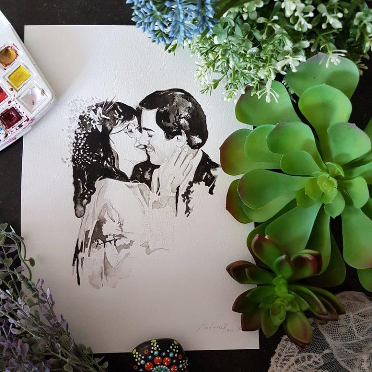 inkt portret in opdracht MadameRuiz huwelijksportret huwelijk jubileum trouwportret VTwonen kunstenaar