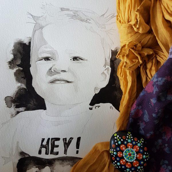 inkt portret kindportret