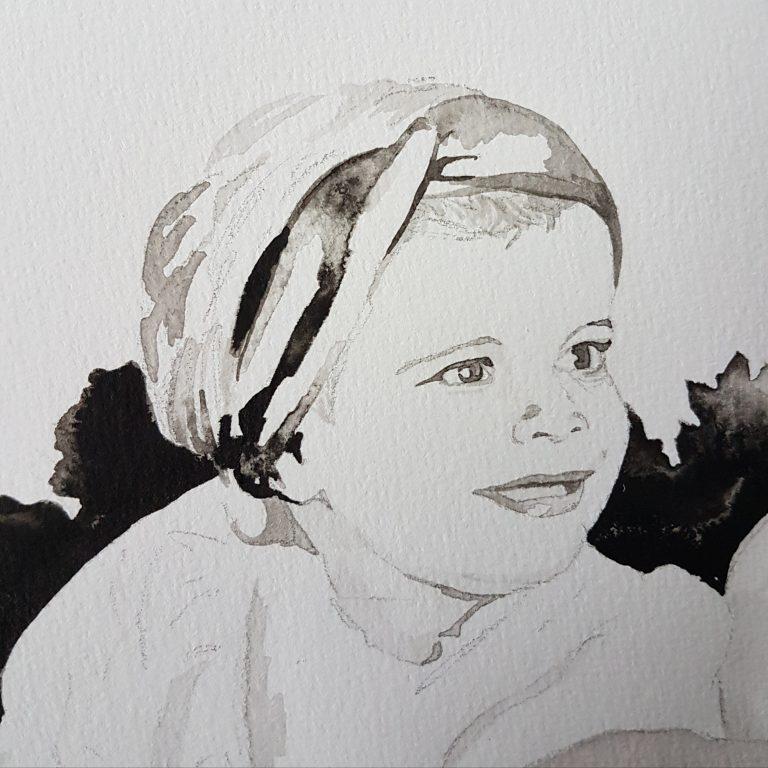 inkt portret in opdracht MadameRuiz kind portret 6 VTwonen kunstenaar