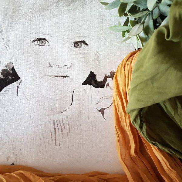 inkt portret in opdracht MadameRuiz kind portret 7 VTwonen kunstenaar