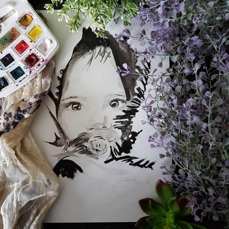 inkt portret in opdracht MadameRuiz kind portret 8 VTwonen kunstenaar