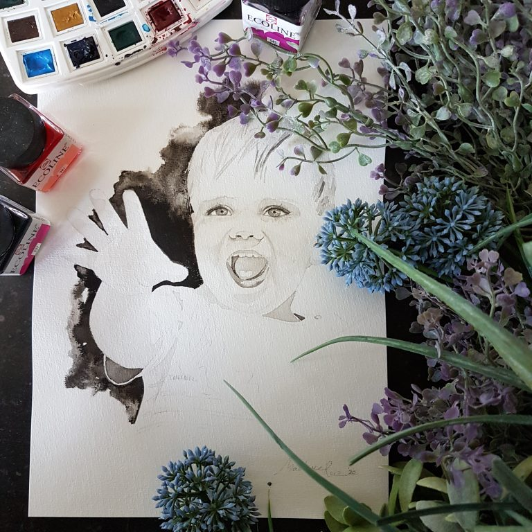 inkt portret in opdracht MadameRuiz kind portret 9 VTwonen kunstenaar