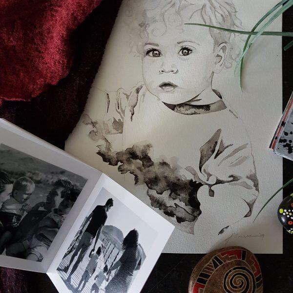 inkt portret in opdracht MadameRuiz kind portret VTwonen kunstenaar
