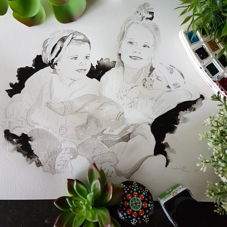 familieportret met drie zusjes waarvan 1 baby inkt portret