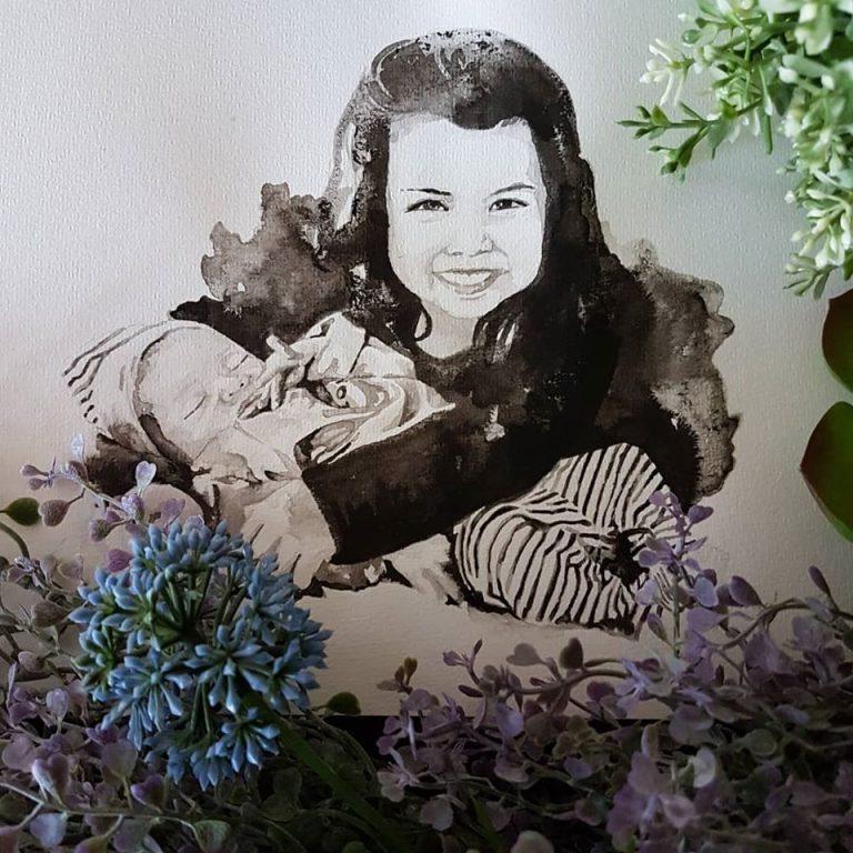 kindportret met baby en grote zus inkt portret