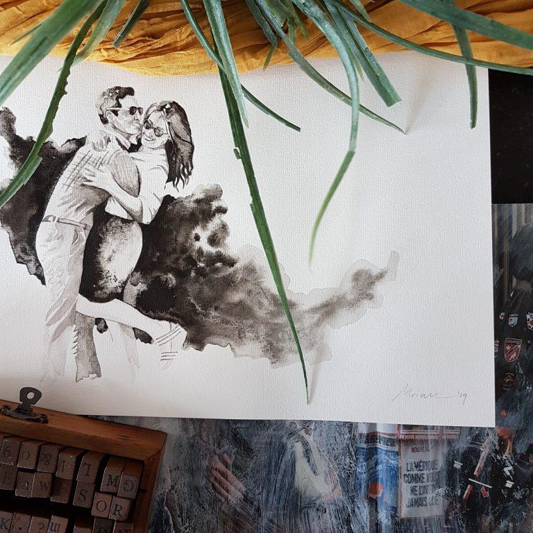 inkt portret in opdracht MadameRuiz liefde portret duoportret VTwonen kunstenaar