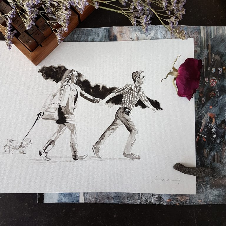 liefdesportret man en vrouw en hondje ten voeten uit