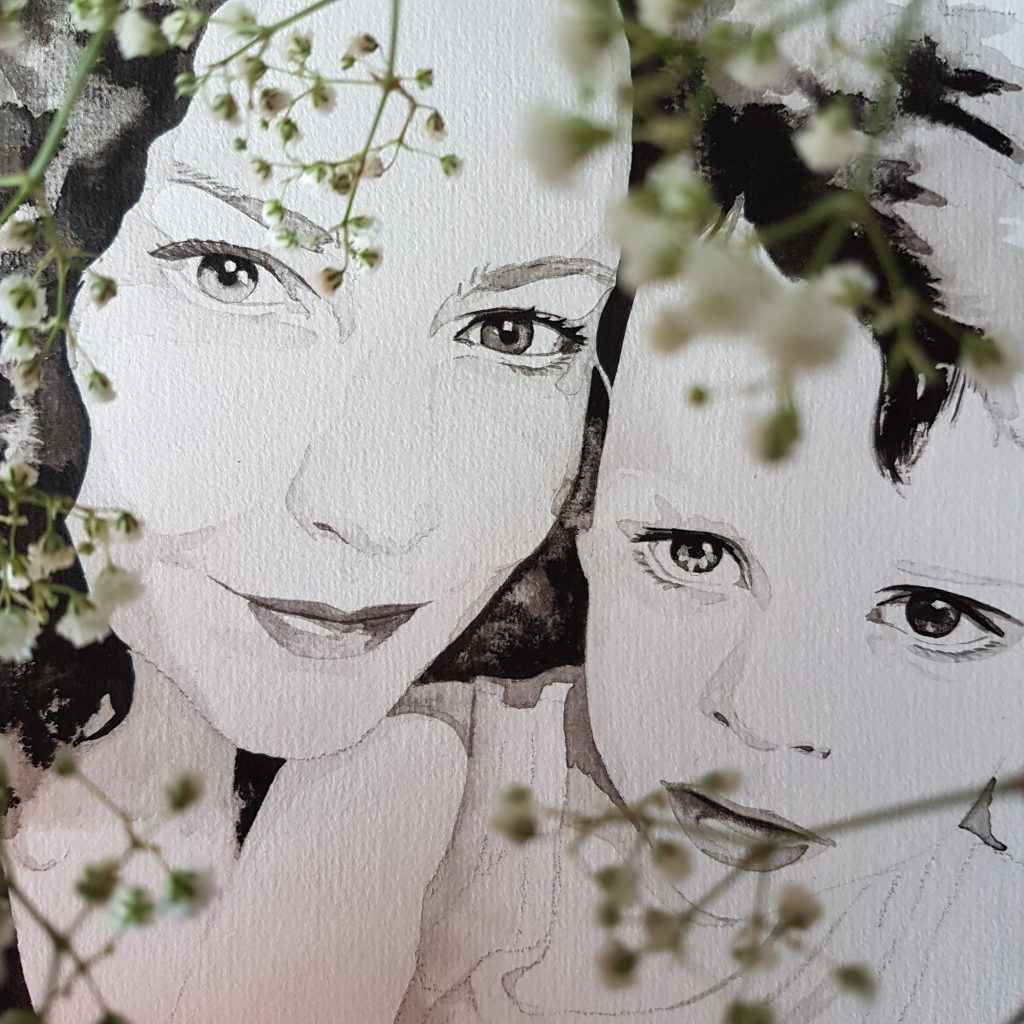 inkt portret van moeder en kind