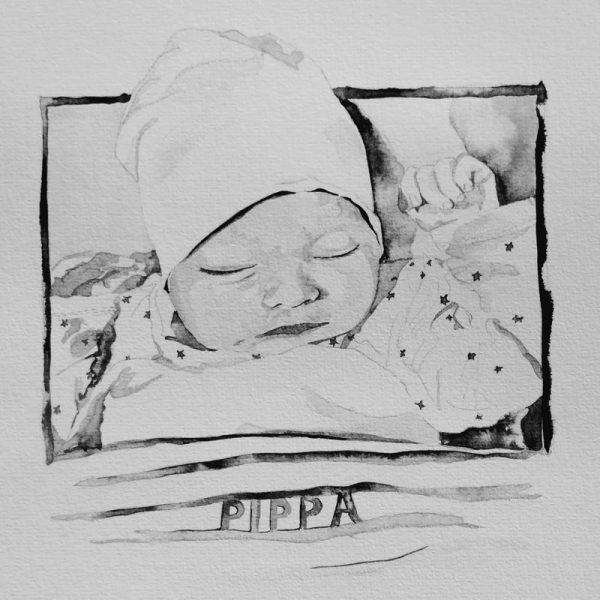 babyportret geboorteportret met naam inkt portret