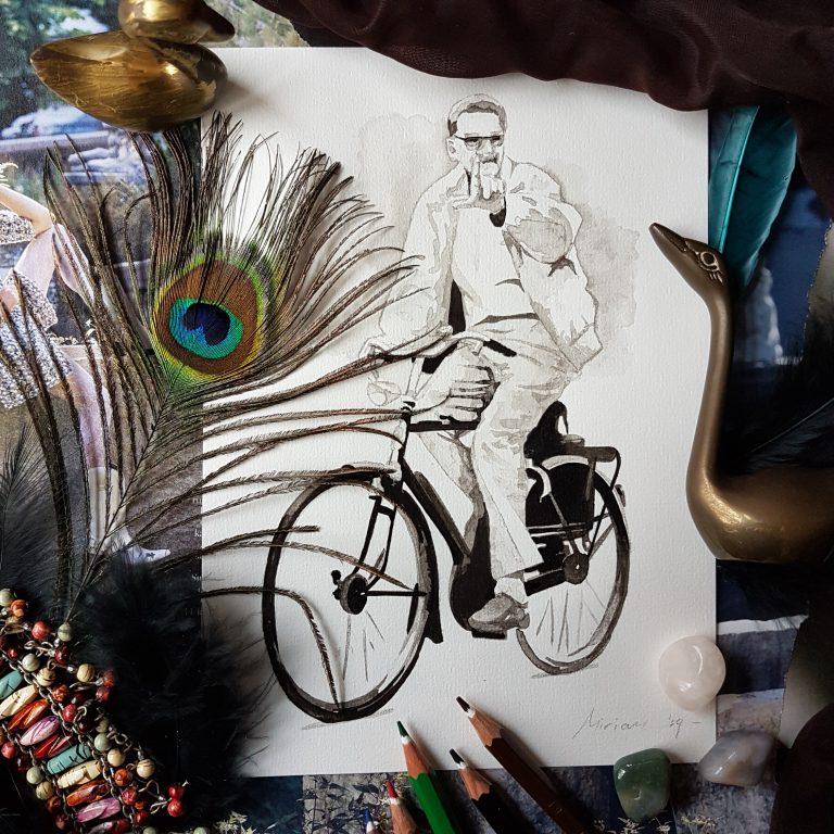 herinneringsportret inkt portret man op een fiets
