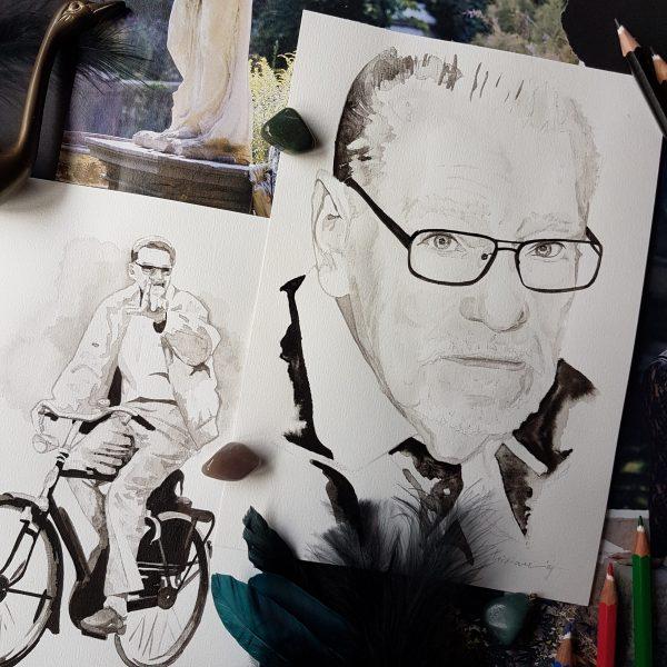 herinneringsportret inkt portret twee portretten