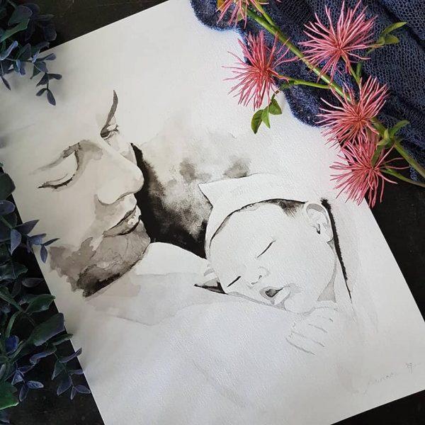 inkt portret met vader en pasgeboren baby op zijn borst