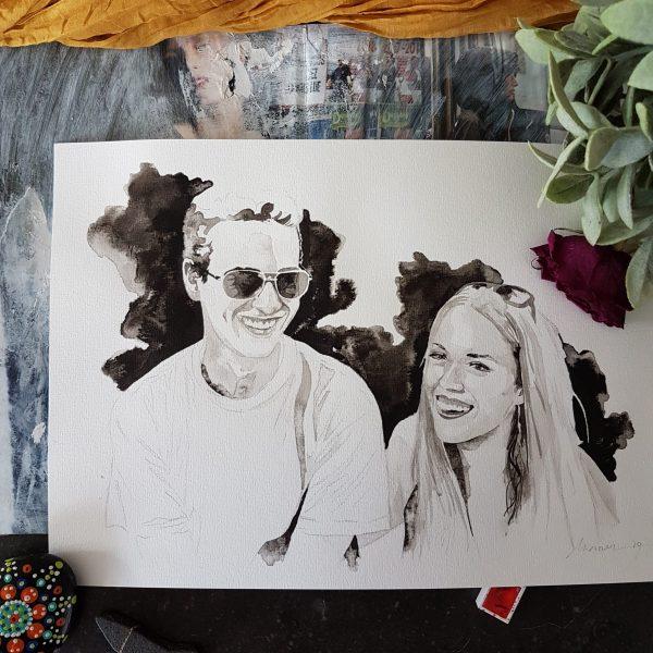 liefdesportret man vrouw inkt portret