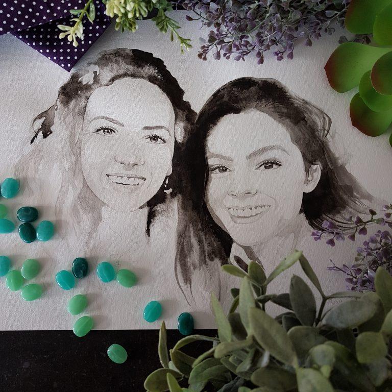 inkt portret in opdracht MadameRuiz zussen portret familie gezin VTwonen kunstenaar