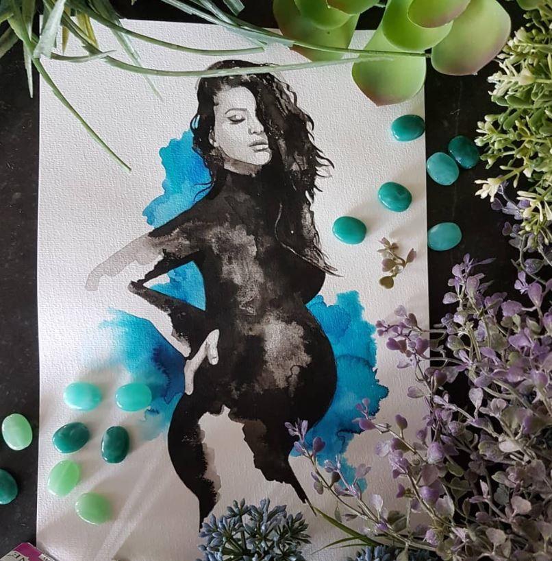 inkt portret van zwangere vrouw zwangerschapsportret