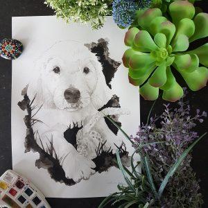 hondenportret van een golden retriever pup in inkt