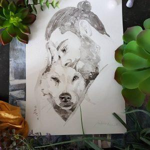 hondenportret inkt portret met hond en baasje knuffelend