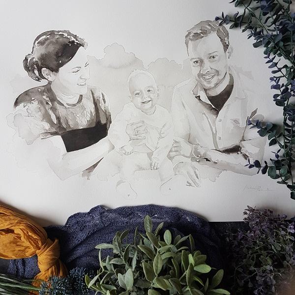 familieportret vader moeder en dochter inkt portret