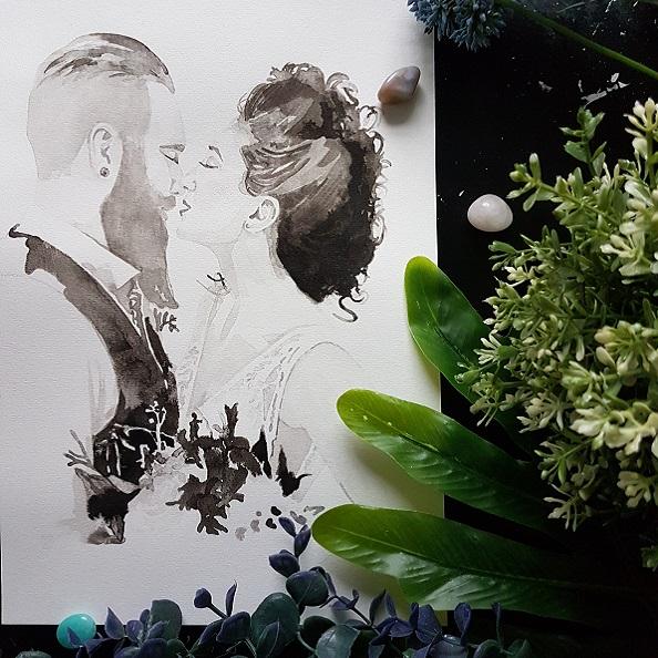 huwelijksportret met details van de bloemen en de trouwjurk inkt portret