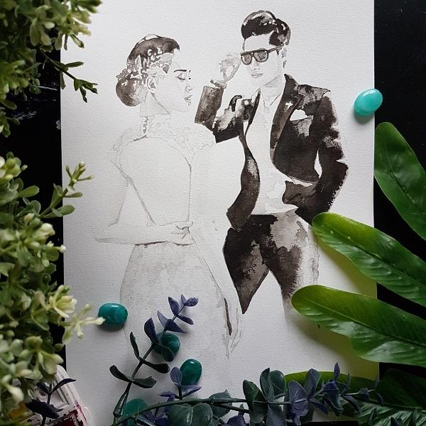 huwelijksportret met details van de jurk en haarstuk. Man heeft zonnebril op