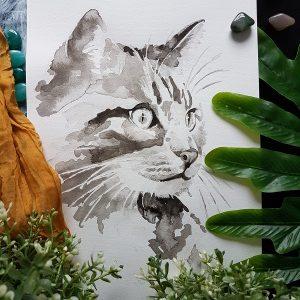 kattenportret inkt portret