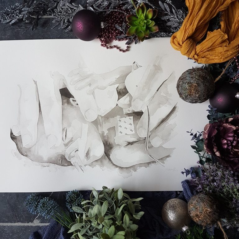 inkt portret van een prematuur kindje in de couveuse