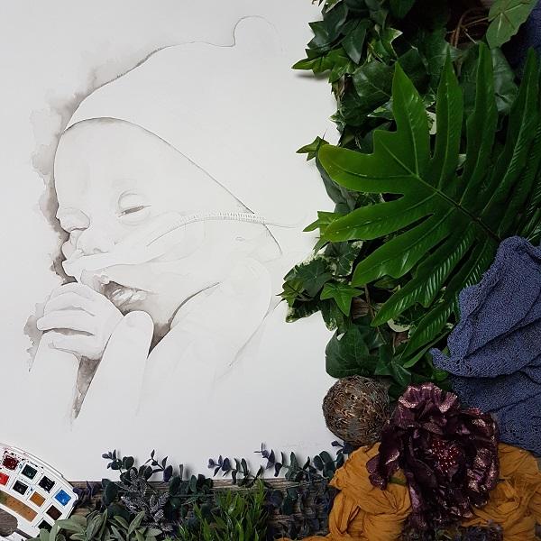 inkt portret prematuur kind in de couveuse inkt portret