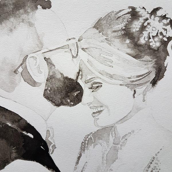 huidhonger vertrouwen trouwen aanraking kus liefde bruiloft weddingplanner bruiloftcadeau inktportret in opdracht madameruiz