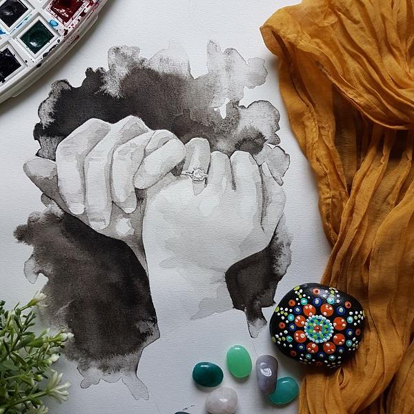 handenportret inkt portret twee handen die elkaar met de pinken kruisen