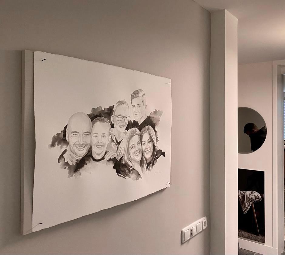 het inkt portret familieportret zoals gezien in VTWonen weer verliefd op je huis
