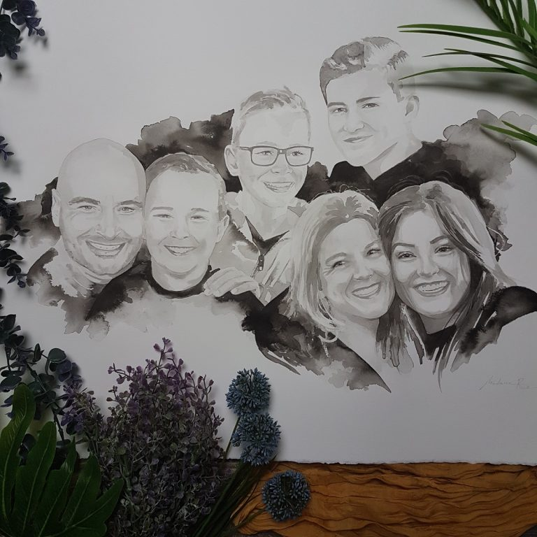 inkt portret voor VTWonen in opdracht van Frans Uyterlinde familieportret van Dennis en Bianca met hun 4 kinderen uit Geffen