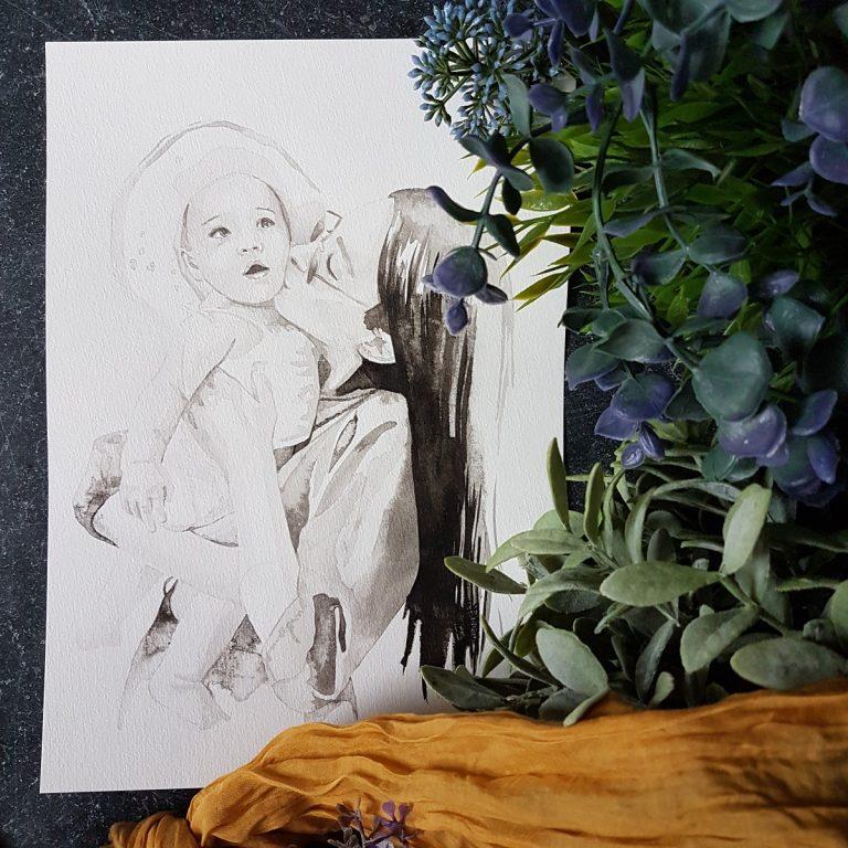 inkt portret moeder en kind