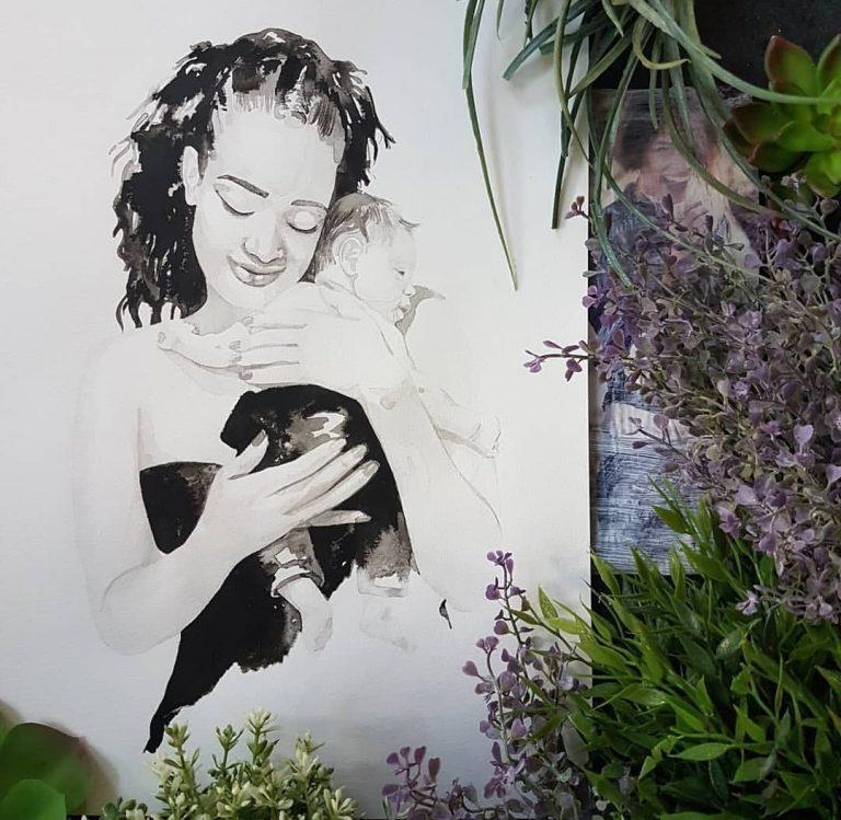 inkt portret moeder en zoon