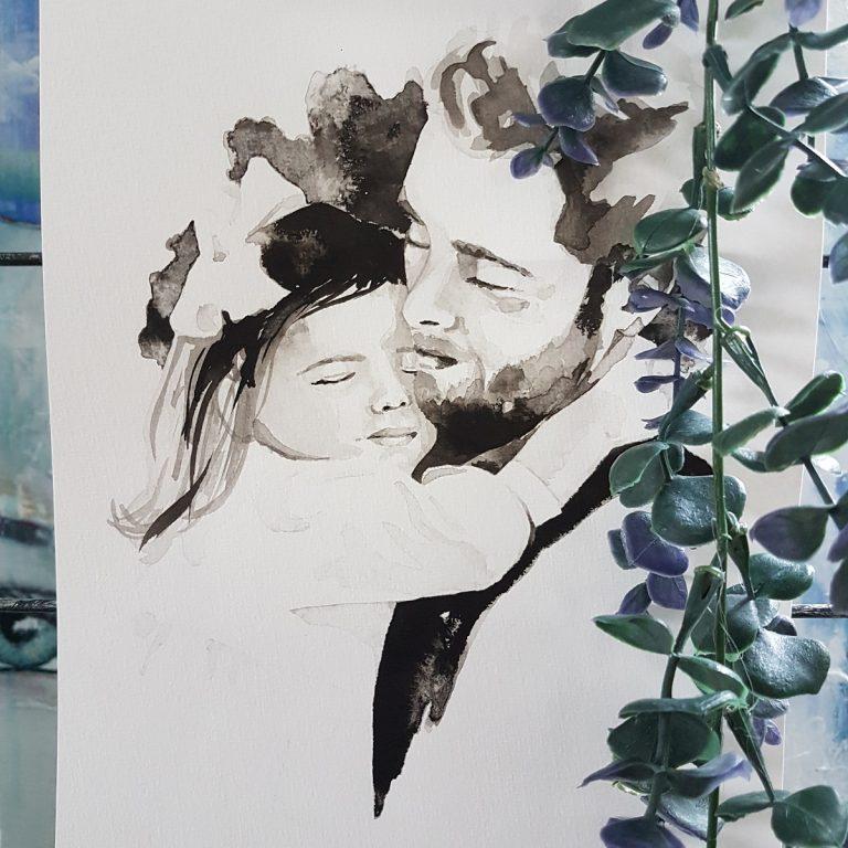 inkt portret vader kind