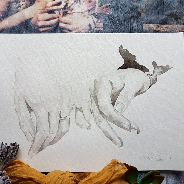 handenportret inkt portret twee handen die elkaar met de pinken aanraken