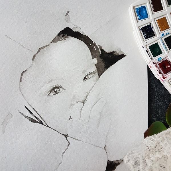 babyportret pasgeboren baby aan de borst inkt portret