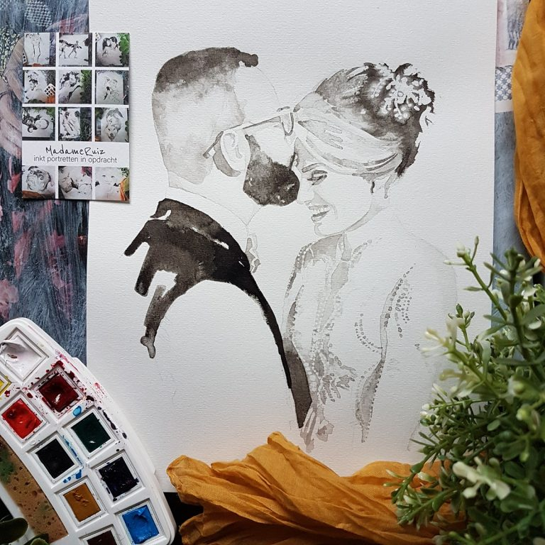 huwelijksportret inkt portret met duidelijke details van het kant op de trouwjurk