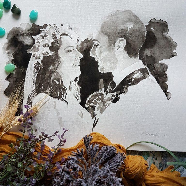 Huwelijksportret contrastrijk inkt portret
