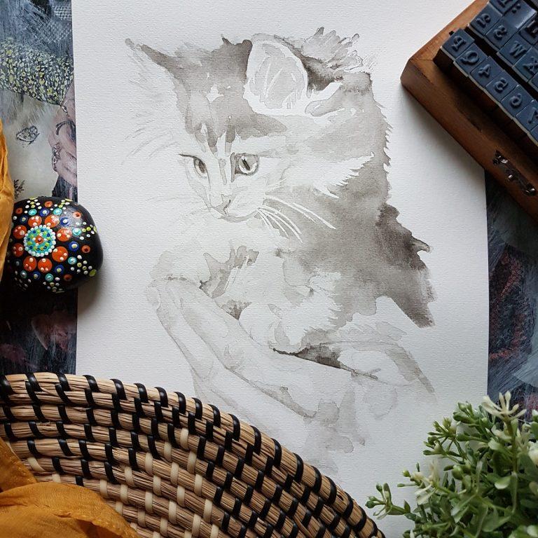 kattenportret inkt portret van een kitten