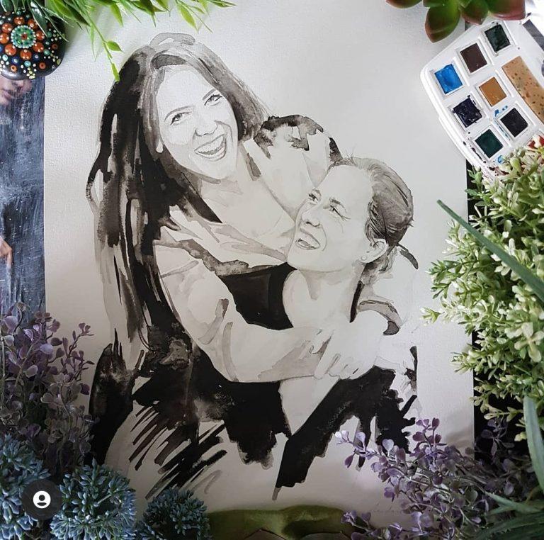 liefdesportret twee vrouwen contrastrijk inktportret