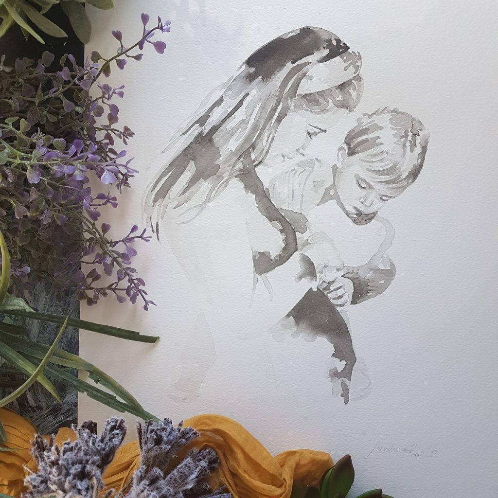 zwangerschapsportret inkt portret moeder met zwangere buik en peuter