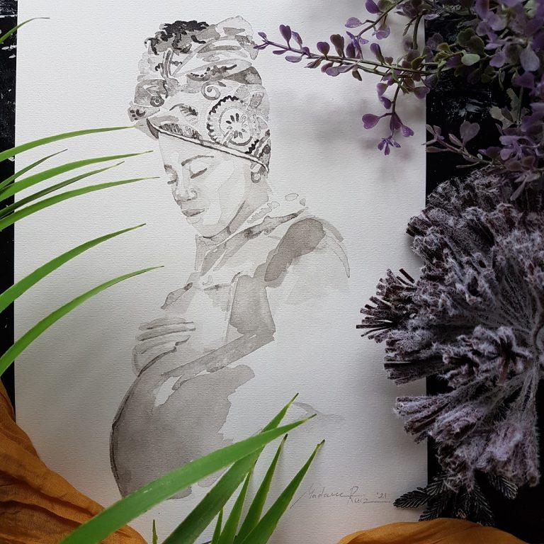 zwangerschapsportret van afrikaanse vrouw inkt portret