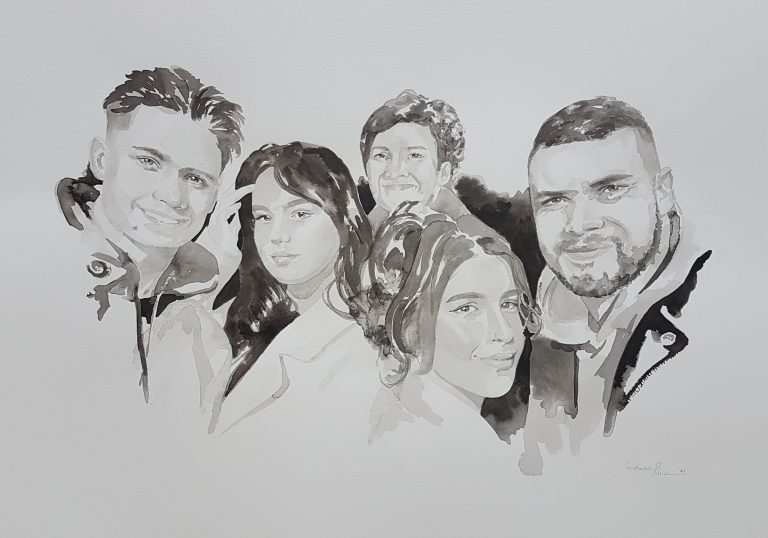 familieportret van hanneke met haar vier kinderen inkt portret